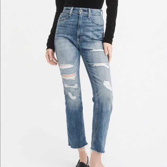 Abercrombie & Fitch Denim - Abercrombie High Rise Ankle Straight Jeans